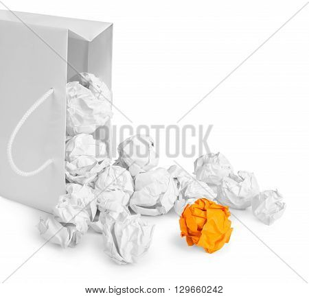 crumpled paper as concept isolated on a white background
