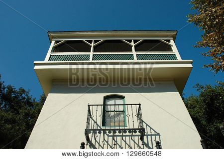 a picture of an exterior 1890's building tower