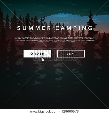 Summer landscape of nature. Nature and landscape. Landscape mountain  forest and lake. Advertising background travel and camping. Mountain forests and rivers.  National Park. Background  gaming .