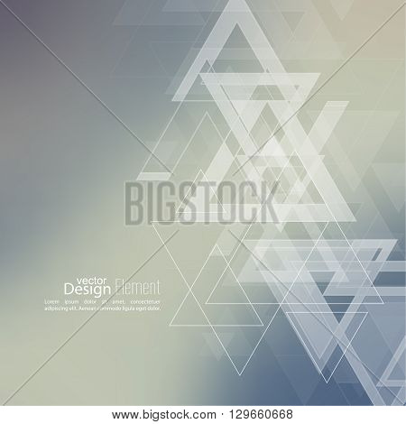 Abstract blurred background with hipster stream flying triangles debris. Pattern subtle. For cover book, brochure, flyer, poster, layout, template, magazine, t-shirt. Vector design. color, multicolor