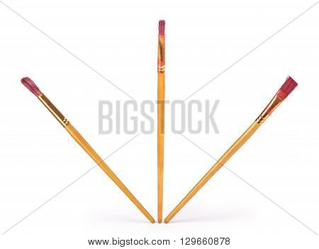 Set of brushes for painting isolated on white