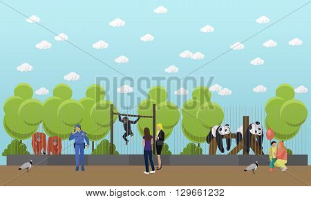 Zoo concept banner. People visiting zoo with family and kids. Animals in zoo. Vector illustration in flat style design.