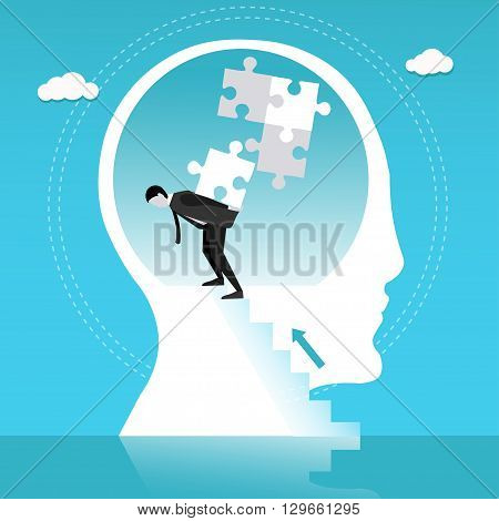 Man builds puzzle in human head. Concept vector illustration.