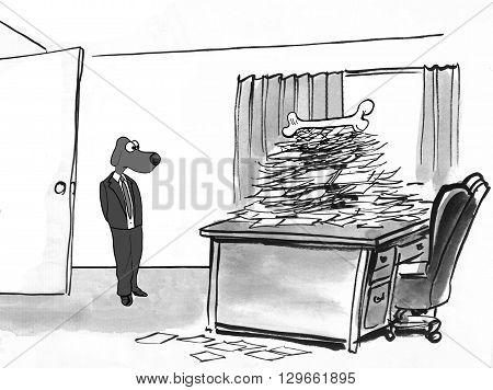 Business cartoon about receiving an incentive to complete the piles of paperwork.