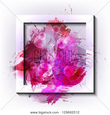 Square vector frame with grunge effect. Vector frame. Grunge background. Watercolor background. Design elements. Hand drawn. Abstract shape.