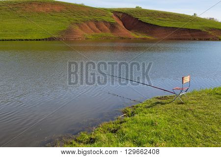 Beautiful View Of River, Fishing Rod