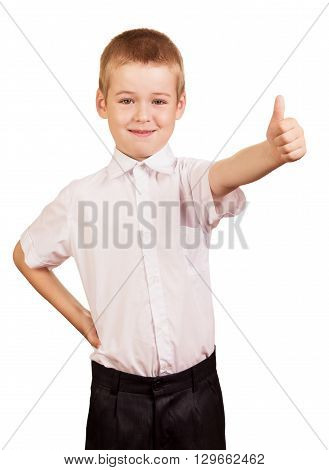 European boy student in shirt and trousers smiling isolated on white background