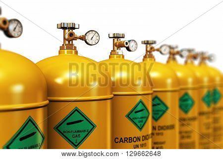 3D render illustration of the group of yellow metal steel liquefied compressed natural carbon dioxide gas containers or cylinders with high pressure gauge meters and valves arranged in row and isolated on white background with selective focus effect