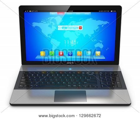 3D render illustration of modern aluminum business laptop or metal silver office notebook with color screen interface with application icons and app buttons isolated on white background