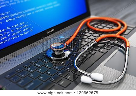 3D render illustration of modern black metal glossy business laptop or notebook PC with error message on blue screen BSOD and red medical stethoscope on keyboard on wooden office table with selective focus effect