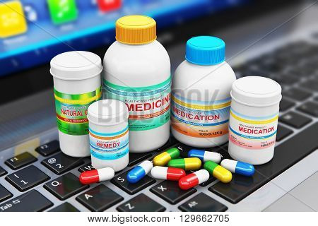 3D render illustration of the group of health care medical supplies - plastic bottles and cans with pharmaceutical color pills and colorful tablets on laptop or notebook computer PC keyboard with selective focus effect