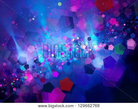 Colorful pentagon bokeh fractal computer generated abstract background