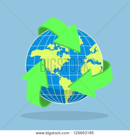 Recycling Arrow Symbol And Planet Earth