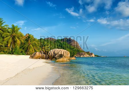 tropical anse source d'argent beach on la digue island in seychelles