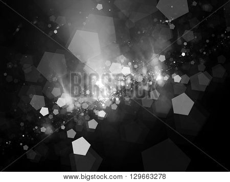 Pentagon shaped bokeh computer generated abstract intensity map black and white screen or overlay layer