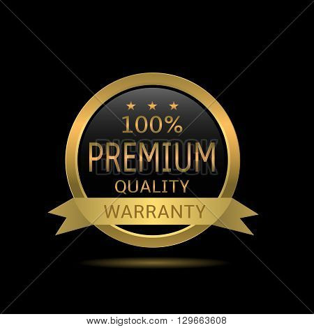 Original premium quality label. Golden warranty badge