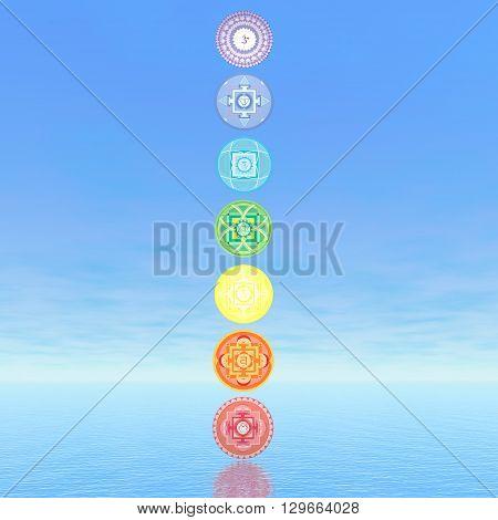 Seven chakra symbols column in blue background - 3D render