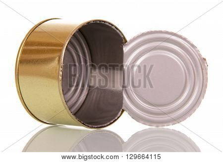 Empty open tin can closeup isolated on white background