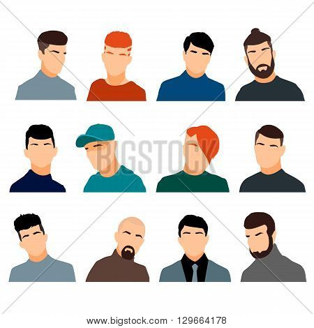 Set of men's heads isolated on a white background. Men's faces in a flat style. Men avatars with different hairstyles. Vector illustration.