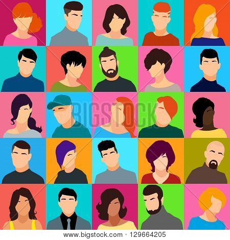 Set of female and male heads. Male and female faces in a flat style. Female and male avatars with different hairstyles. Vector illustration.
