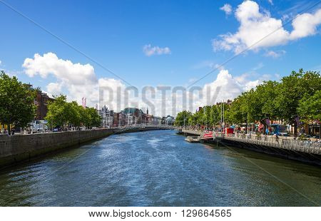 Dublin Ireland - August 3 2013: View of the city on the Liffey river in the Temple Bar district