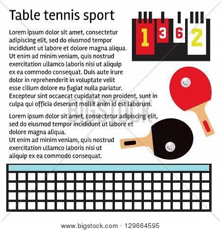 Table tennis text template with ping pong equipment illustrations.