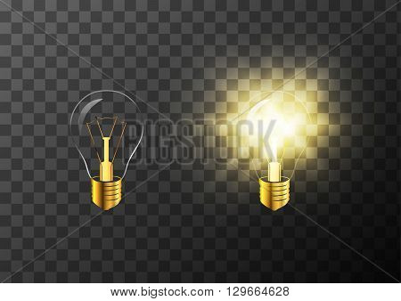 Turning on and off realistic light bulb on transparent background