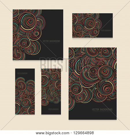 Set of colorful abstract curly vector background, hand drawn waves, swirls and clouds pattern, for paper and textile design Elegant linear style ornament, on the black dark background