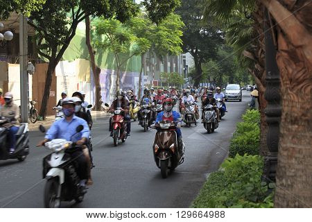 A Congested Road With Motorist On Ho Chi Minh Street In Vietnam