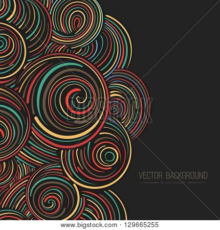 Abstract curly vector background, hand drawn waves, swirls and clouds pattern, for paper and textile design Elegant linear style ornament, on the black dark background
