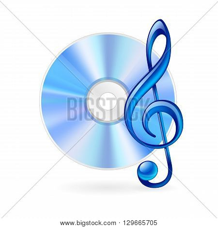 CD and treble clef as music icon. Illustration on white background