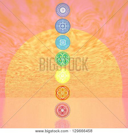 Seven chakra symbols column in orange sunset background with big sun - 3D render