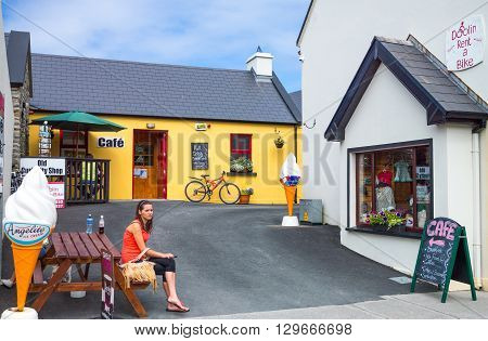 Calway Ireland - August 4 2013: A tourist resting in the Doolin village