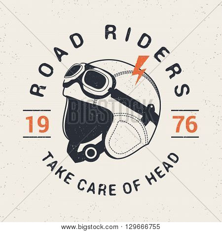 Retro racer moto helmet. Tee print graphics. Vintage style. Vector illustration.