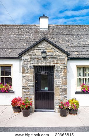 Calway Ireland - August 4 2013: The entrance of a traditional house in the Doolin village