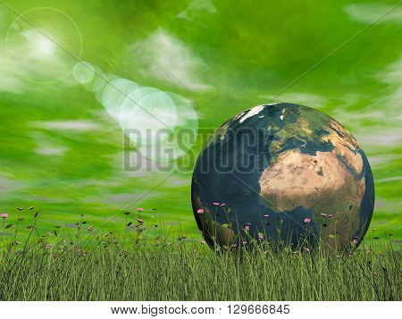 Earth concept in green background with sun halo light - 3D render