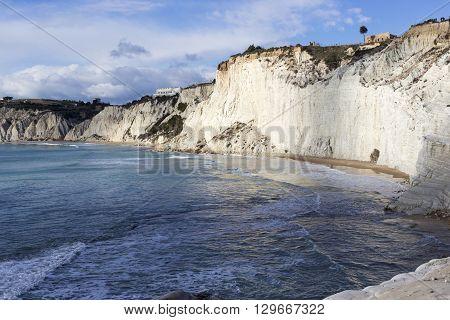white cliff of Scala dei Turchi (Turkish Staircase) near Agrigento Sicily