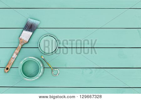 Colorful Fresh Green Stained Wooden Boards