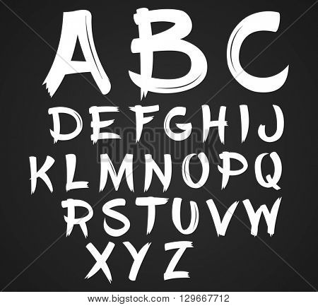 Handwritten calligraphy font - letters, white on the black background