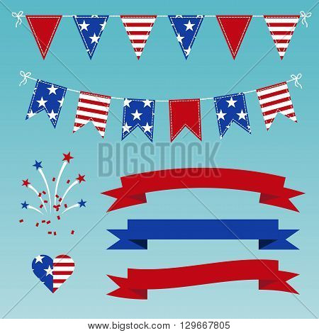 Vector Set of Patriotic Bunting flags ribbons fireworks for Independence Day on July 4. Light blue background.