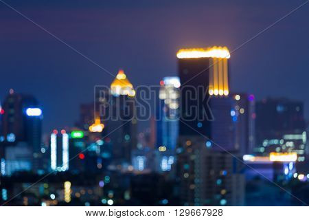 Abstract blurred bokeh lights, night view, city business area background