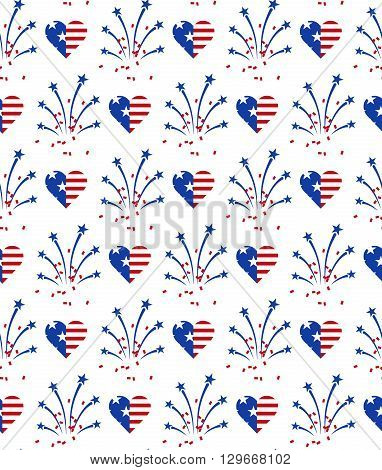 Fireworks and heart in American national flag colors. Seamless pattern for US Independence Day 4th of July. Vector illustration on white background