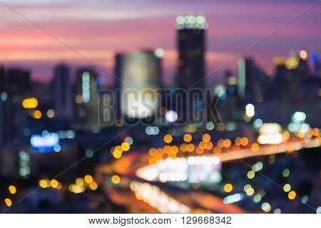 Abstract blurred bokeh, city and highway interchanged lights night view