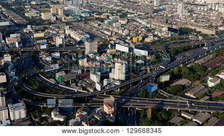 Aerial view, city downtown and highway interchange, Bangkok Thailand