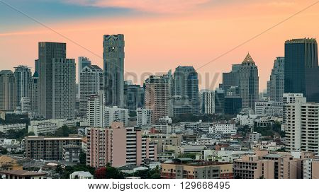 City downtown office building with beautiful sky background