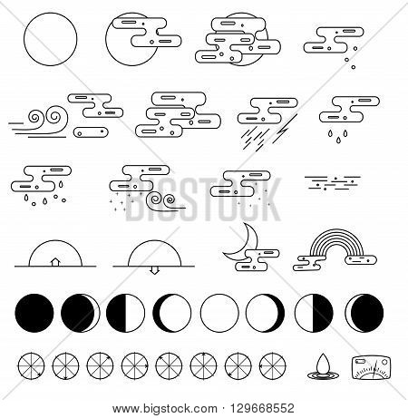 Weather Icons collection and the phases of the moon. Outline modern style. Monochrome icons