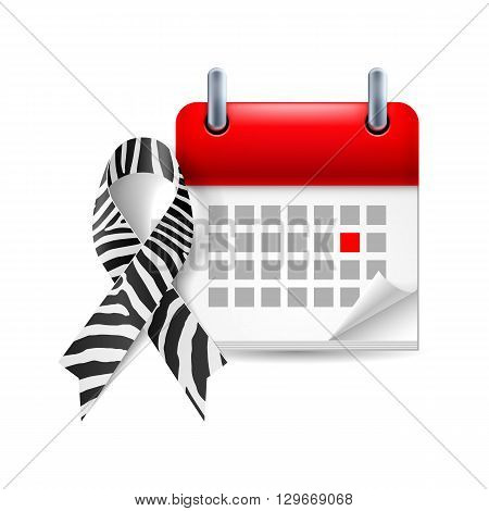 Zebra-print awareness ribbon and calendar with marked day. Rare-disease Ehlers-Danlos syndrome symbol