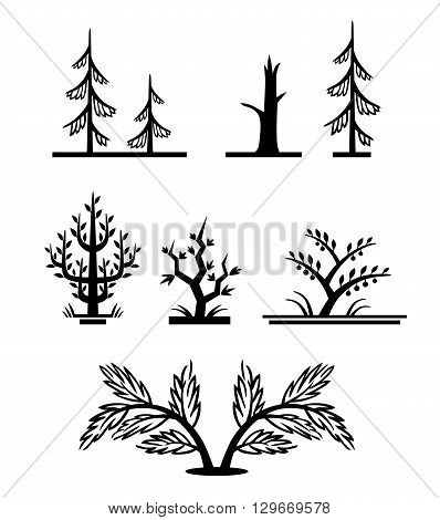 A set of vector simple monochrome trees. Stylized fir trees, a dead tree, a bush, and some trees with leaves.