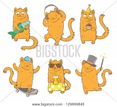Cartoon cats set. Funny kittens in various poses. Vector image. Children's illustration.