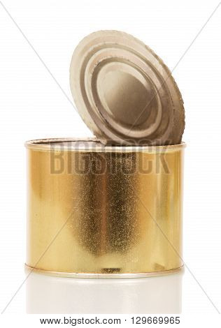 Empty open tin can isolated on a white background